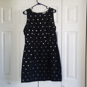 Black and Silver Polka Dot Cocktail Dress